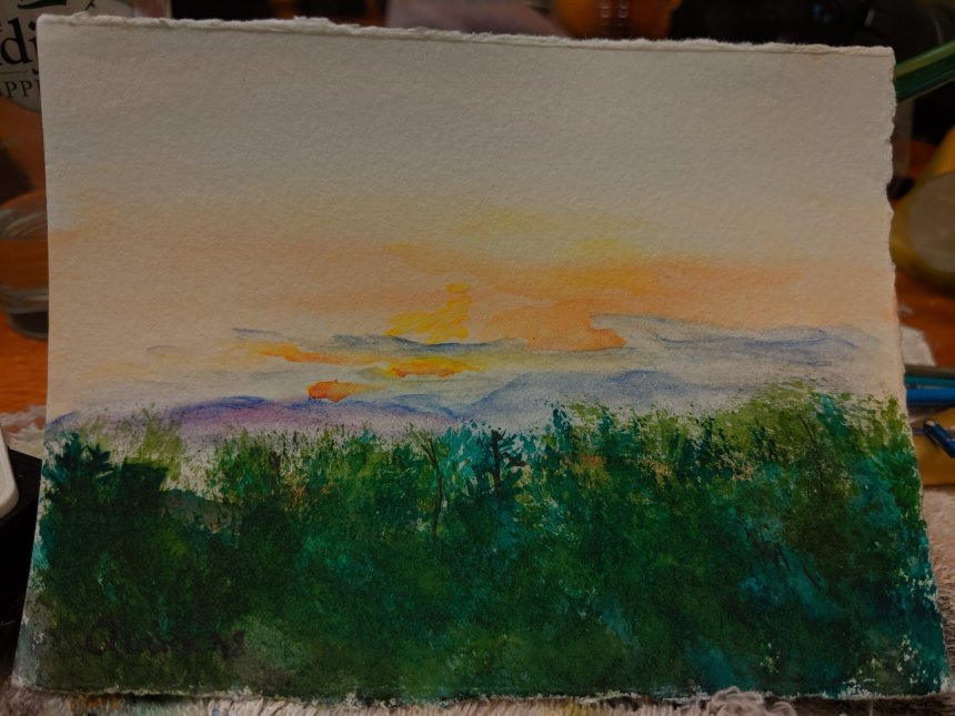 Watercolour painting sunset with clouds and treeline