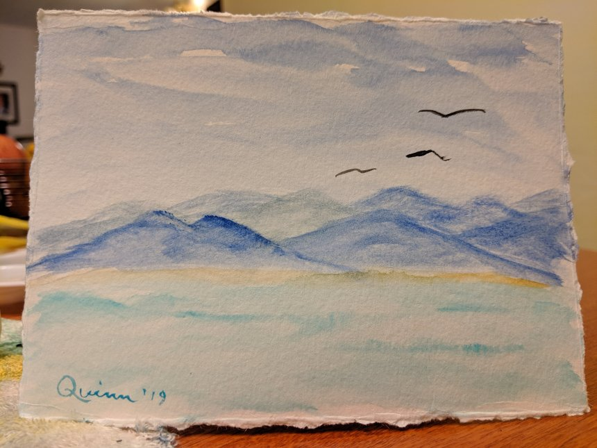 Watercolour painting landscape mountains water
