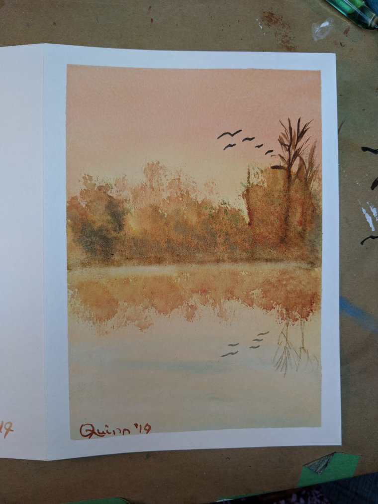 Watercolour painting landscape sunset reflecting in water