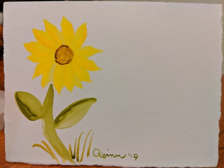 Watercolour painting of a sunflower