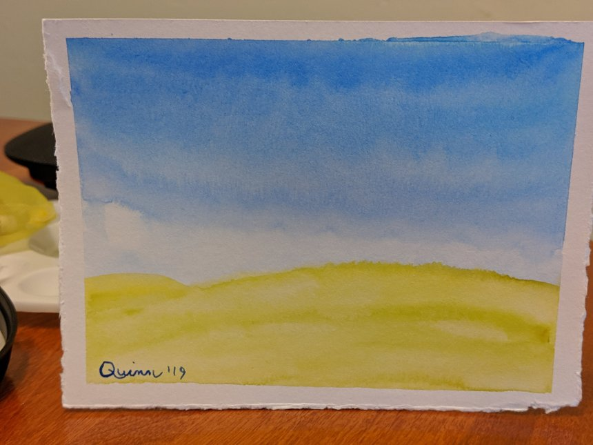 Watercolour painting landscape blue sky and yellow field