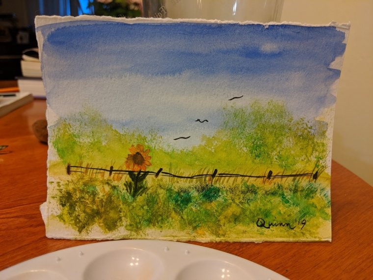 Watercolour painting landscape sky, trees and Field