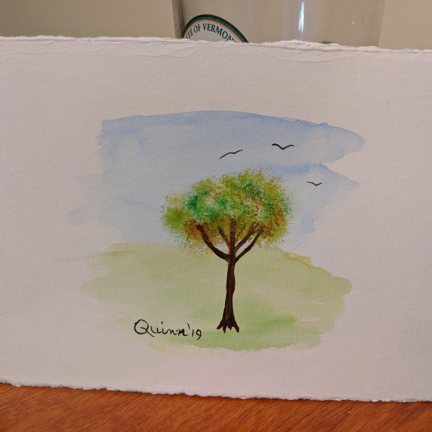 Watercolour painting tree