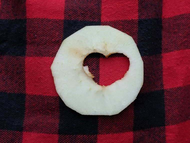 Heart cutout in the apple