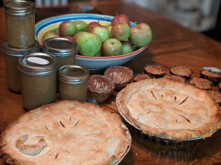 Bowl of apples, containers of applesauce, apple muffins and two pies