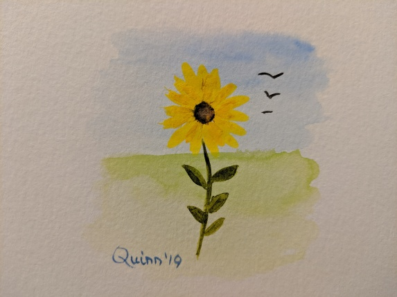 watercolour painting sunflower