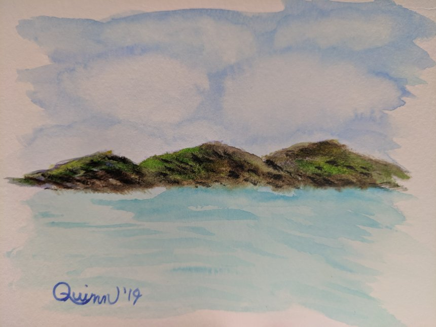 Watercolour painting landscape mountains and sea