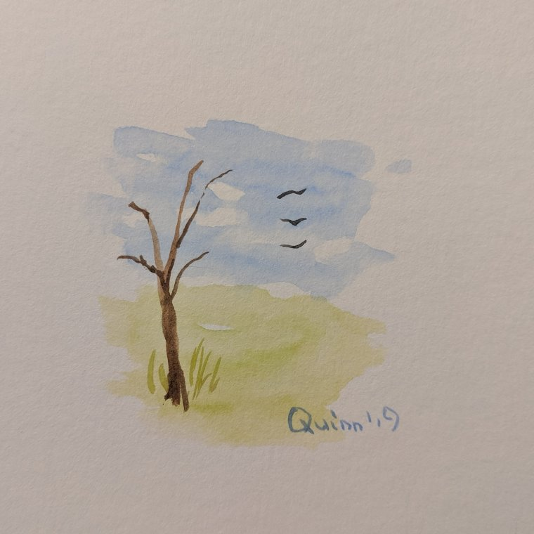 Watercolour painting landscape tree and sky and grass