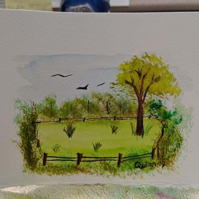Watercolour painting landscape pasture fenced in