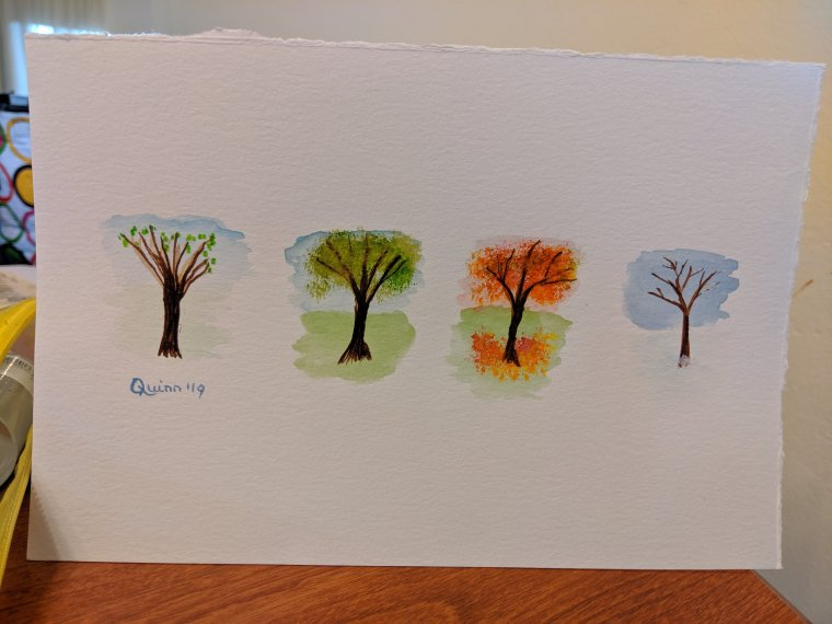 Watercolour painting four trees one for each season, spring, summer autumn, winter