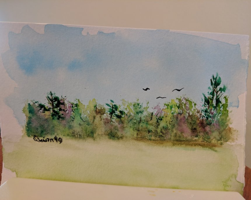 Watercolour painting landscape blue sky, green grass and trees