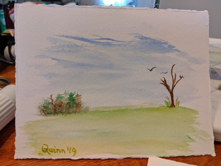 Watercolour painting landscape blue sky, green grass and a few trees