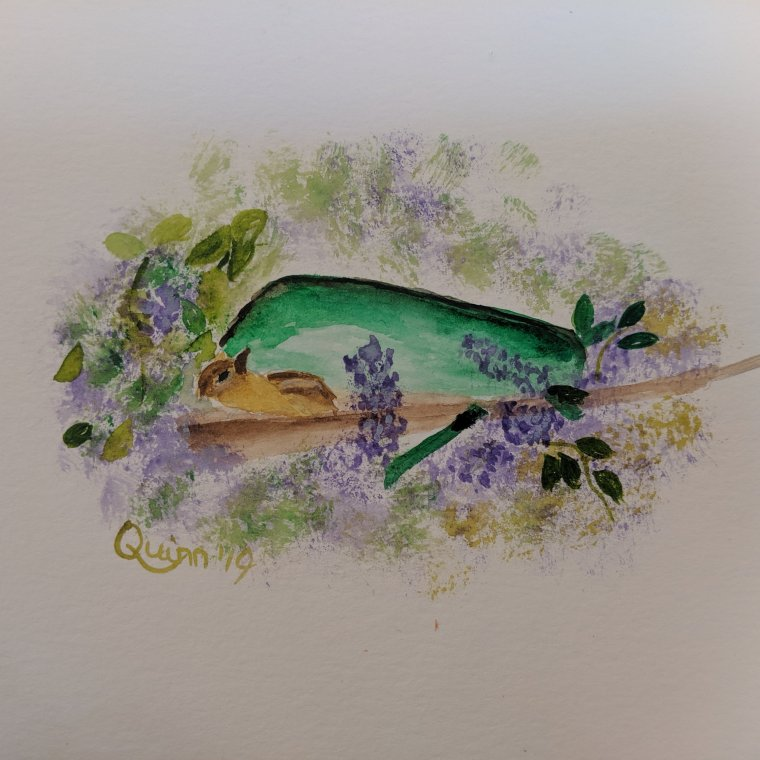 Watercolour painting wheelbarrow wildflowers and a chipmunk