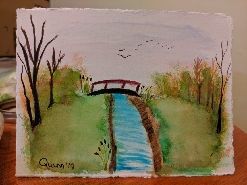 Watercolour painting landscape park and bridge over stream