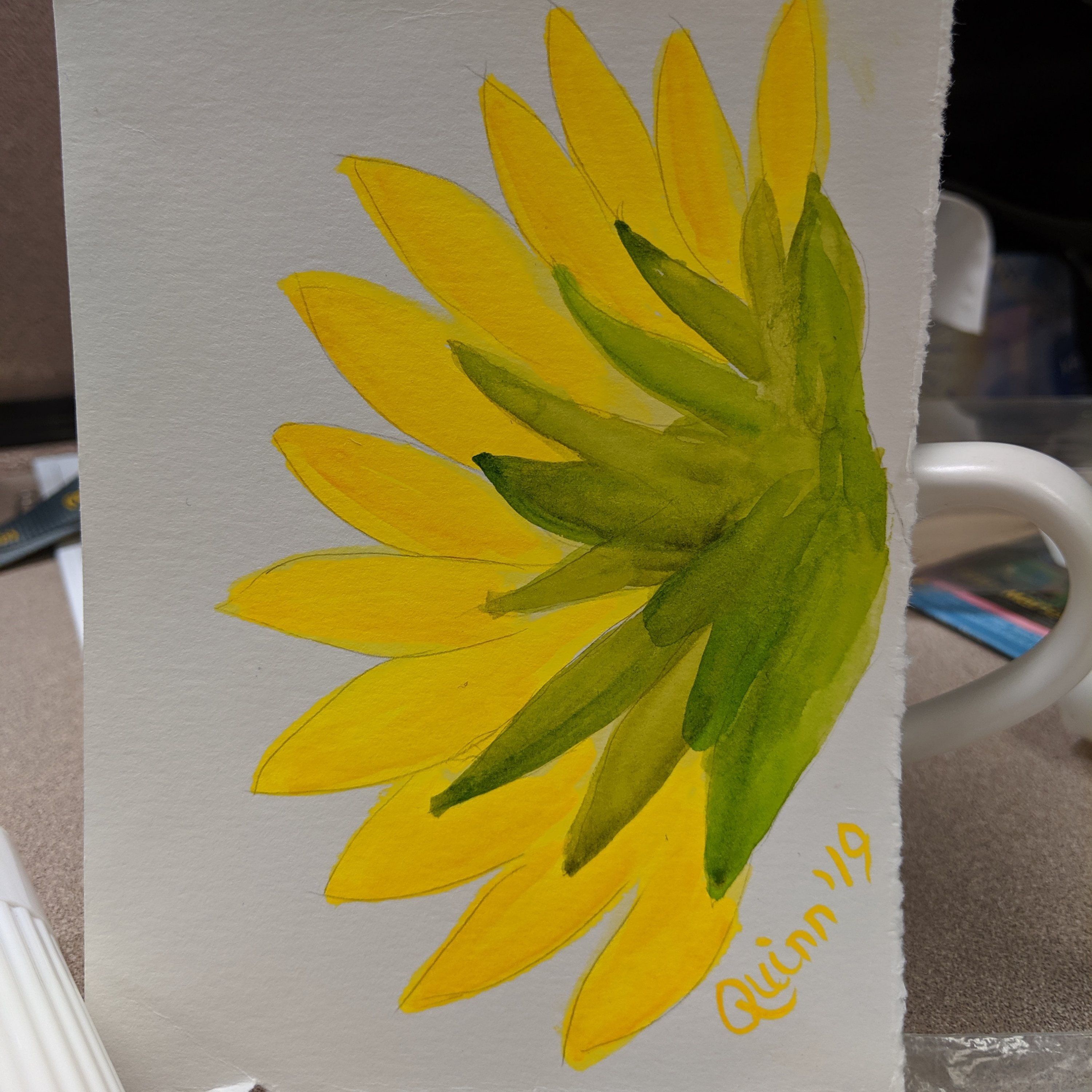 Watercolour painting back of sunflower