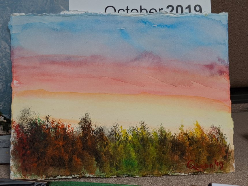 Watercolour painting landscape sunrise and fall coloured trees