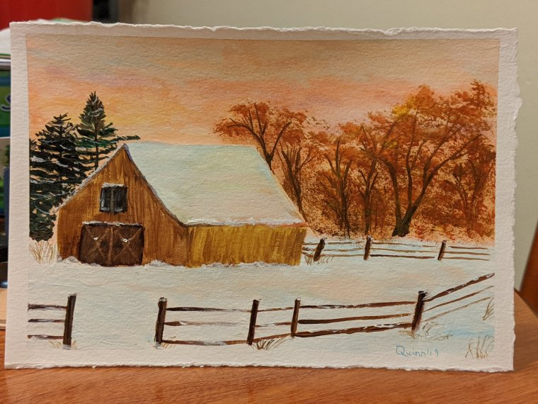 Watercolour painting barn and paddock in snow. Orange sky. Trees.
