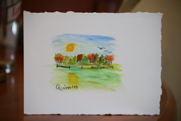 Watercolour painting landscape full moon rising over bush of coloured trees and a field with fence