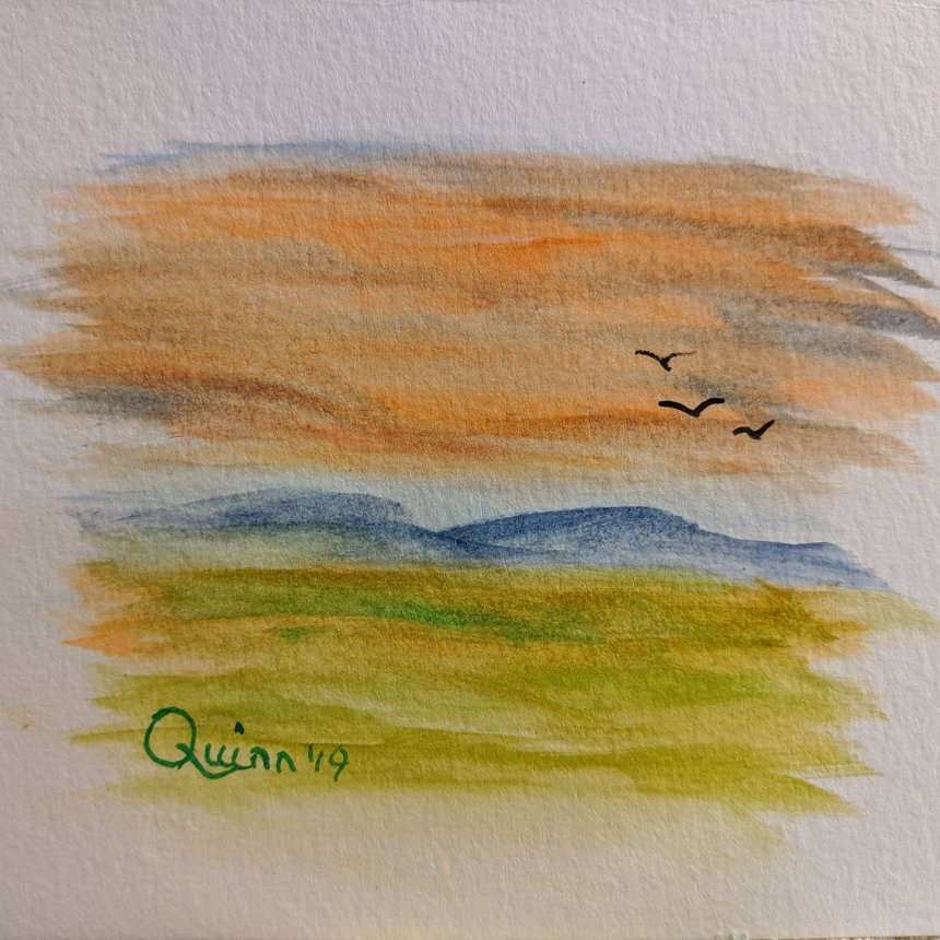 Watercolour painting landscape red orange sky with mountains and grass and three birds