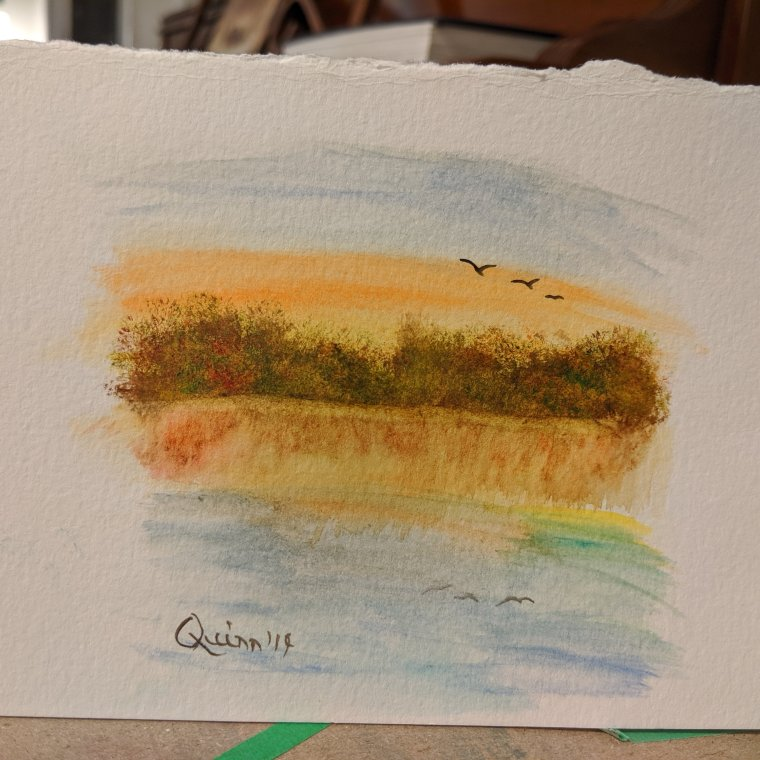 Watercolour painting autumn sunset reflection