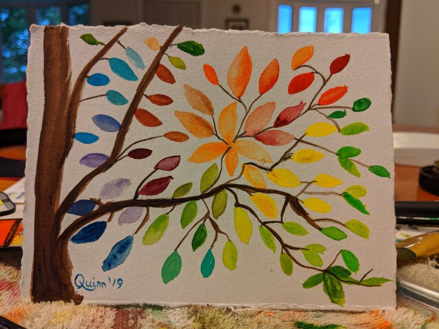 Watercolour painting tree with lots of leaves different colours of the rainbow