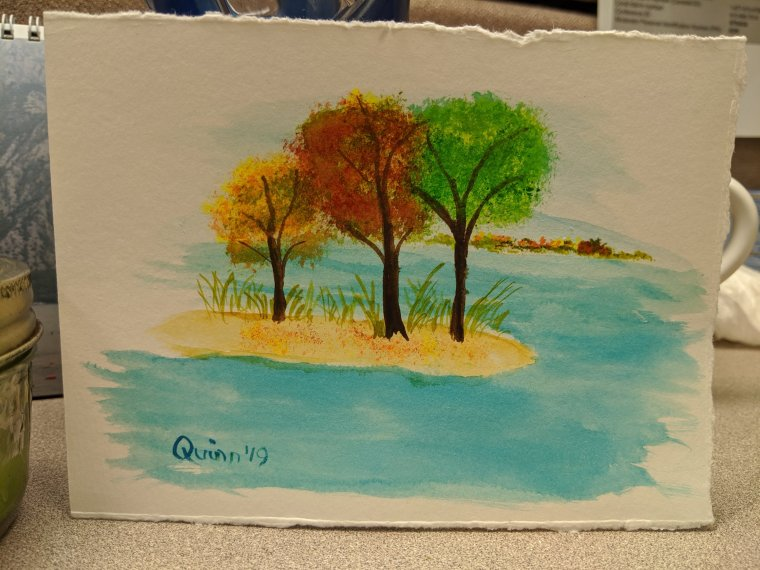Watercolour painting landscape trees on sandy peninsula with hills in background