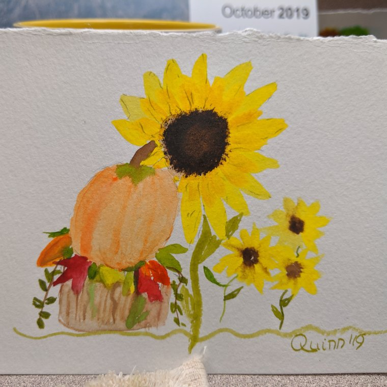 Watercolour painting pumpkin, sunflower, and black eyed susan