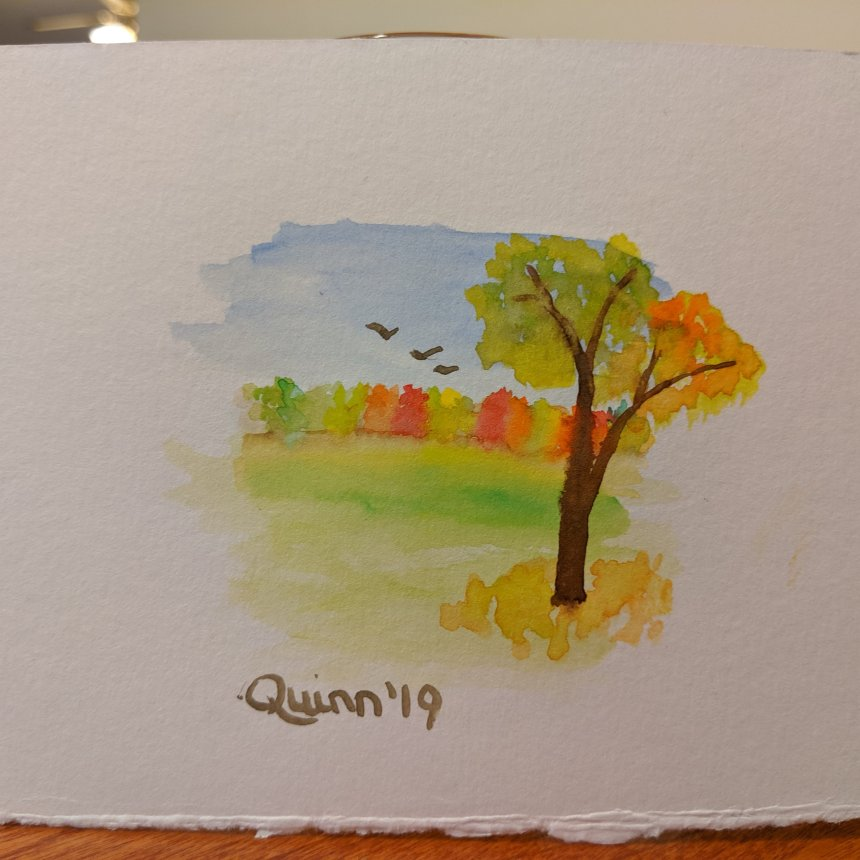 Watercolour painting landscape tree line fall colours and tree in foreground