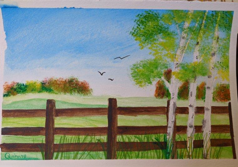 Watercolour painting landscape country side with fall foliage in background and a fence in foreground and three Birch trees