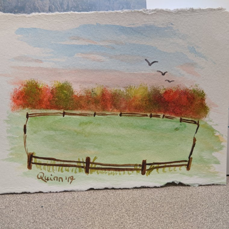 Watercolour painting landscape fall trees and a field with a fence