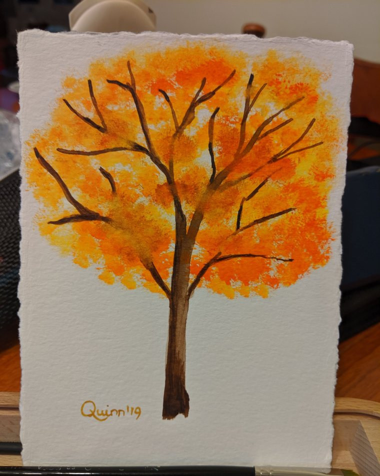Watercolour painting tree with orange and yellow leaves