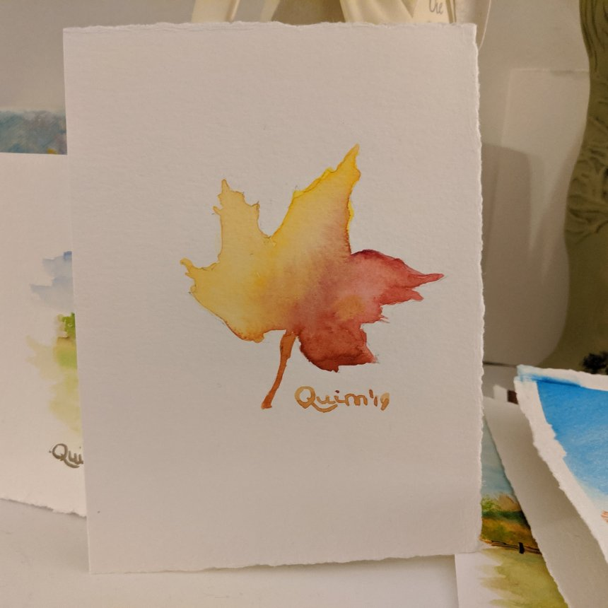 Watercolour painting coloured leaf red and yellow