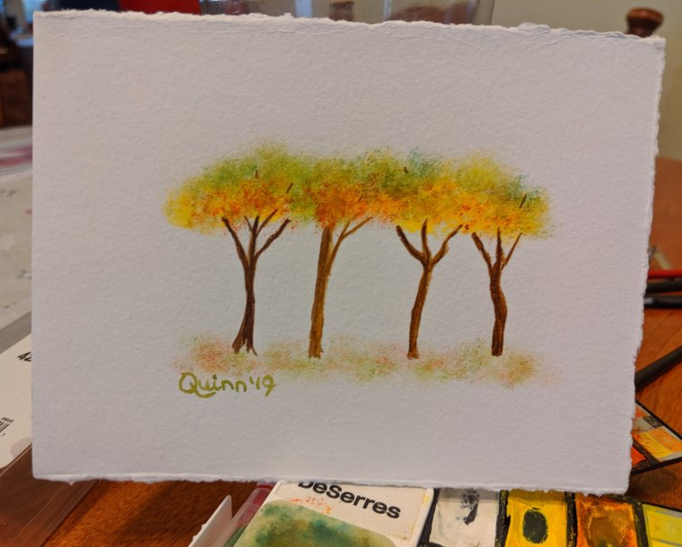 Watercolour painting four trees in full Fall colours
