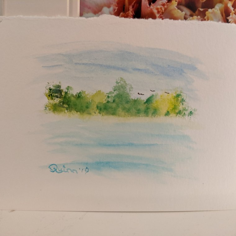 Watercolour painting landscape trees and water