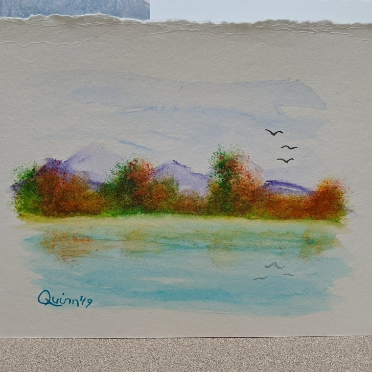 Watercolour painting landscape mountains fall colors bush and lake