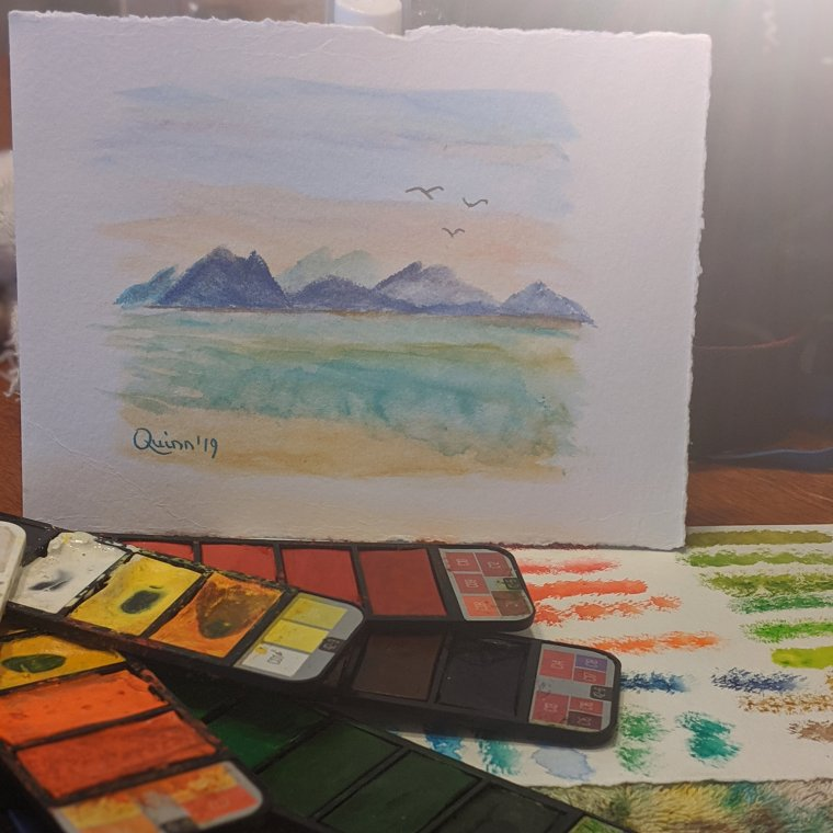 Watercolour painting landscape mountains and water