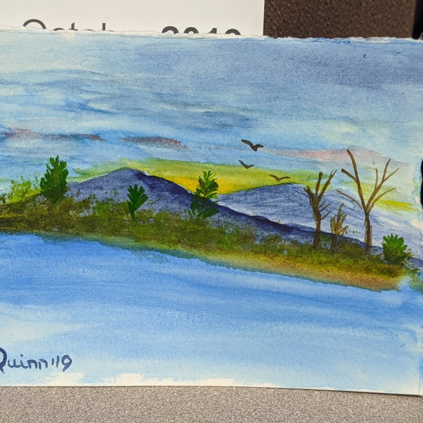 Watercolour painting landscape mountains water and trees