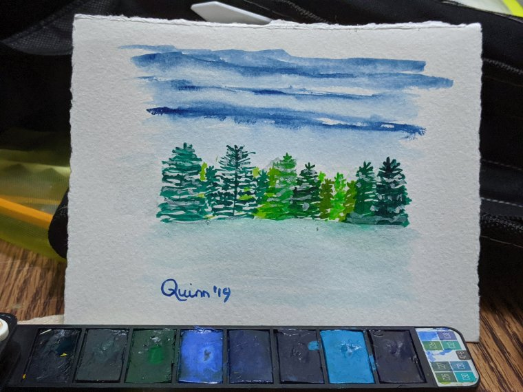 Watercolour painting landscape dark blue sky with evergreen trees and snow