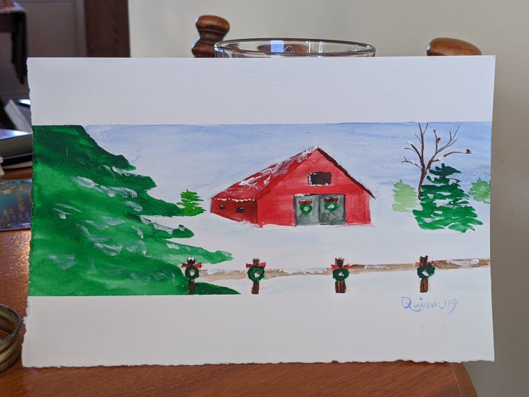 Watercolour painting landscape red barn with snow around and evergreen treee