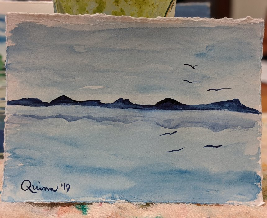 Watercolour painting landscape sky mountains and sea all blue