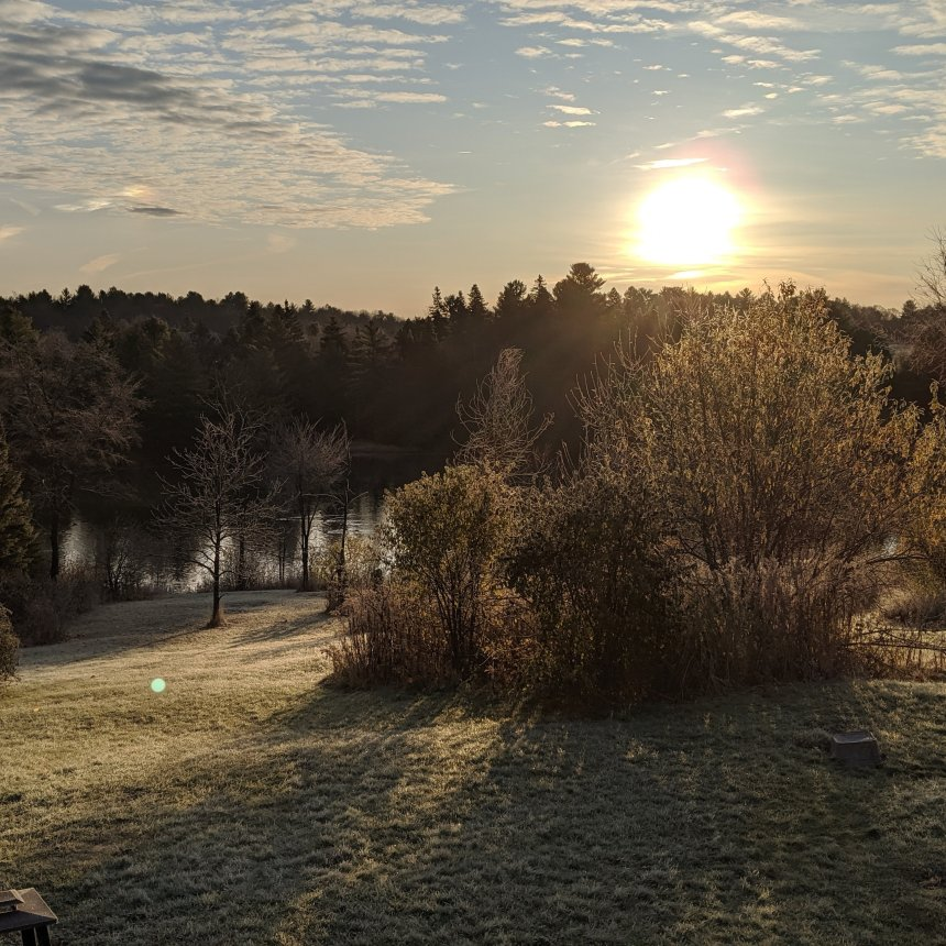 Glowing yellow sun radiating on the frosty grass hill sloping towards a river with a dozen geese