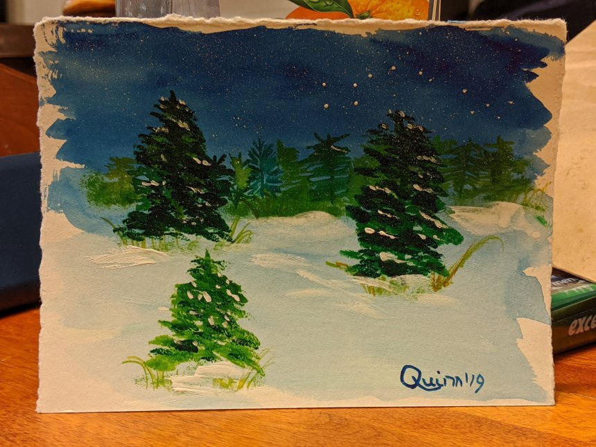 Watercolour painting night scene with stars, evergreen trees with snow on branches.