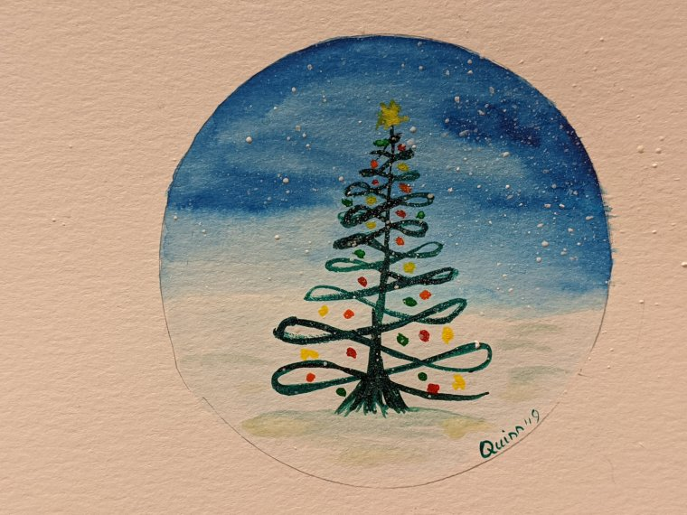 Watercolour painting night scene with Christmas tree
