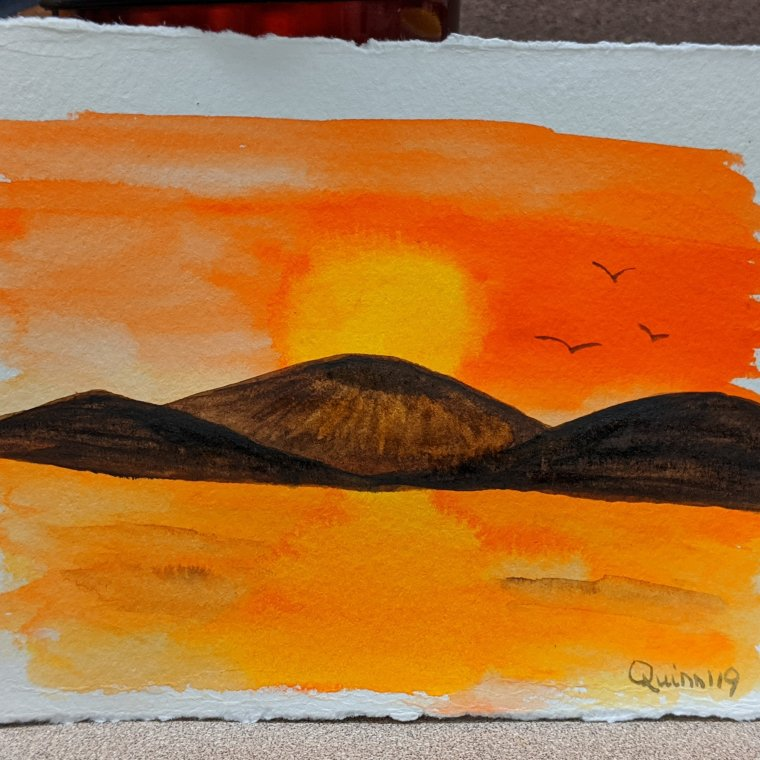 Watercolour painting landscape orange sky brown mountains