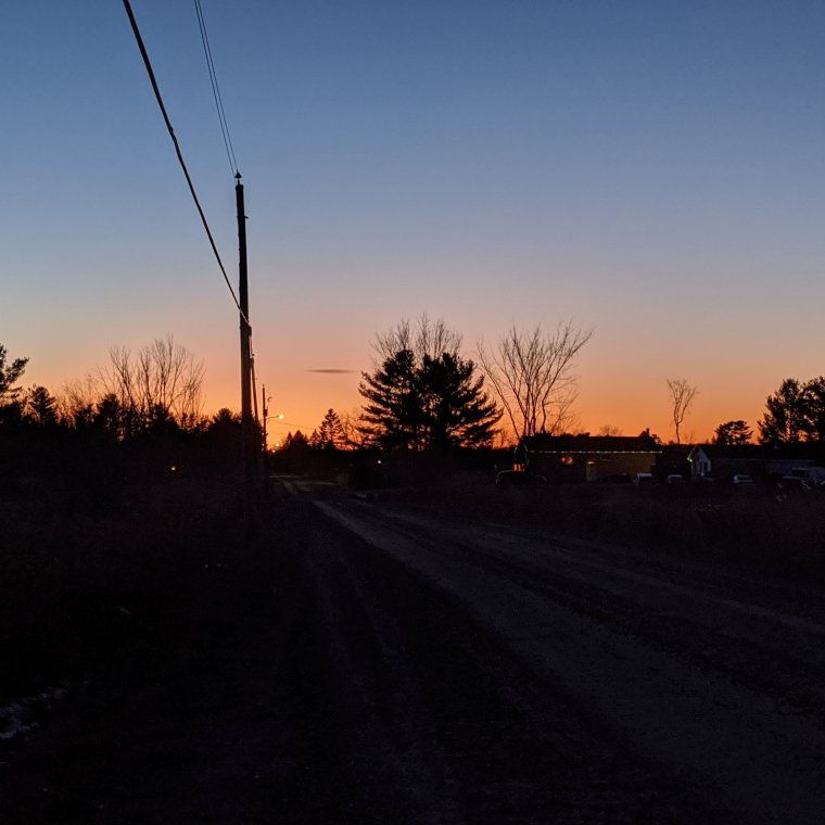 Orange sunset at Horizon with trees, houses and road in silhouette