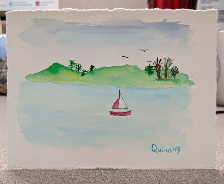 Watercolour painting landscape mountains water and sailboat