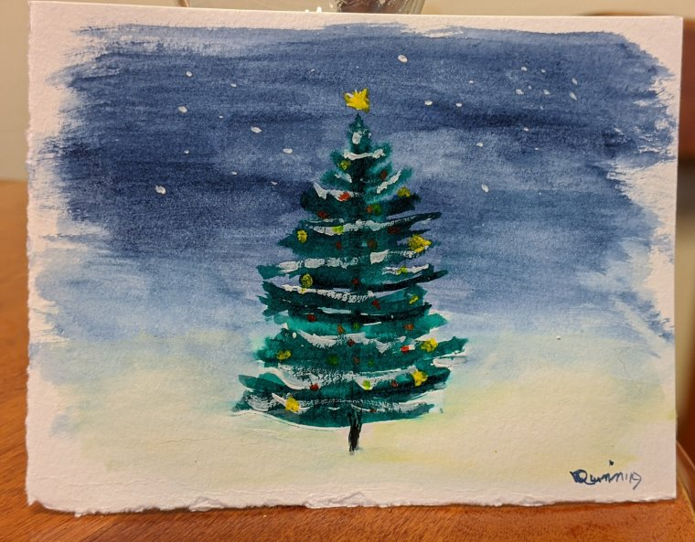 Watercolour painting, Christmas tree with the lights and yellow star, night under stars