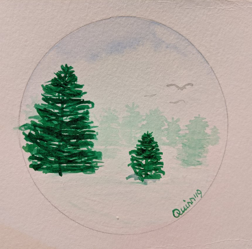 Watercolour painting green Christmas trees in field