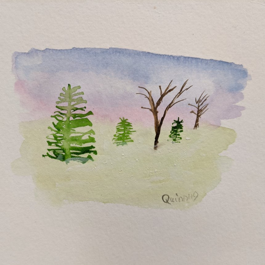 Watercolour painting landscape green and bare trees