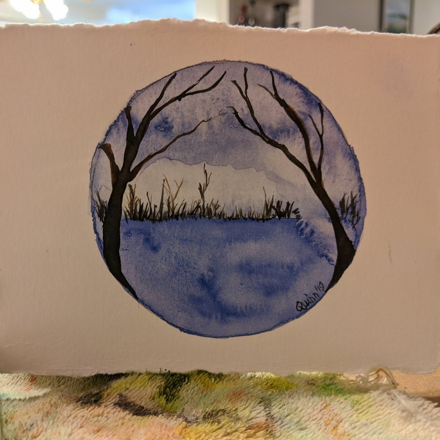 Watercolour painting landscape with a tree on each side